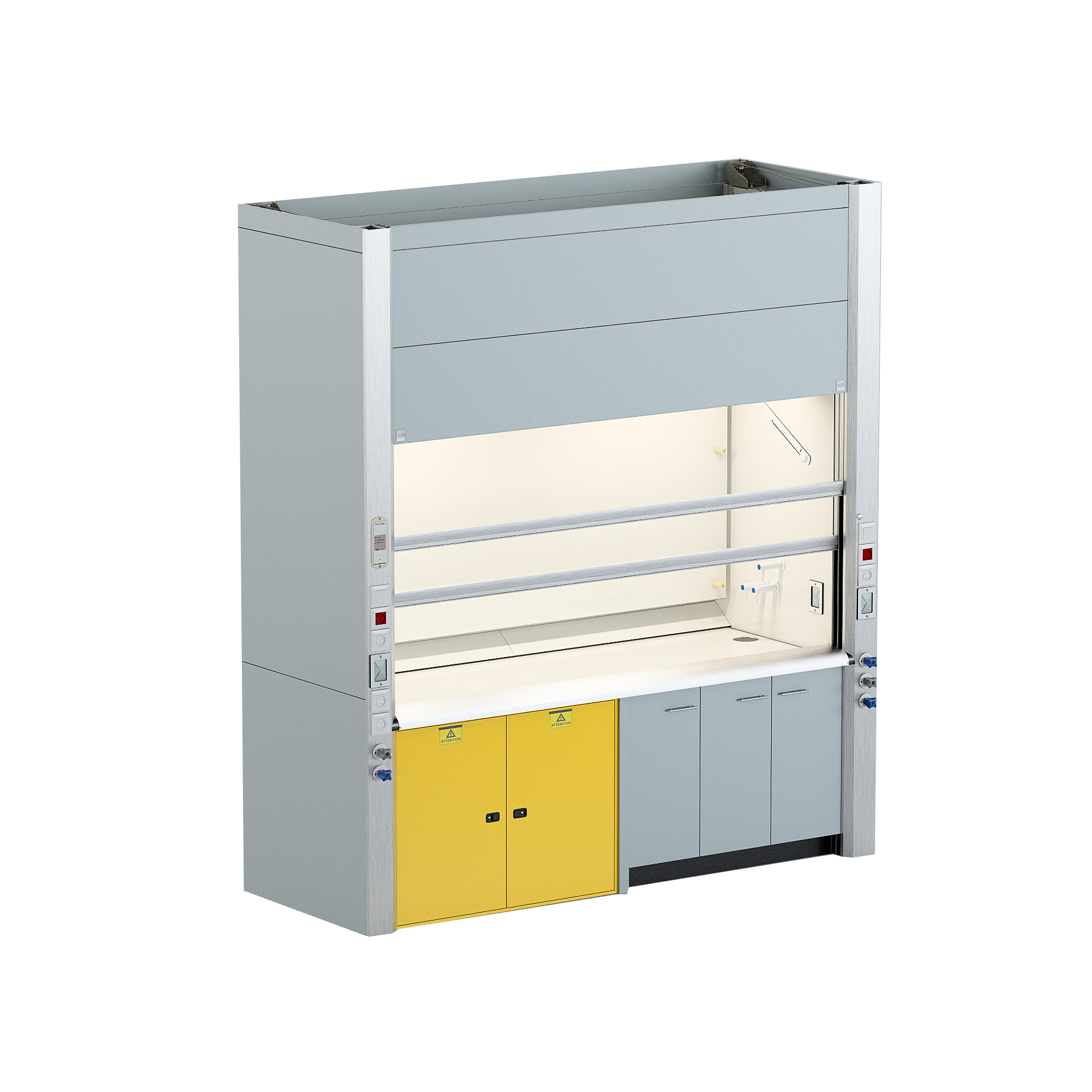 Chemical fume hood with safety cabinet